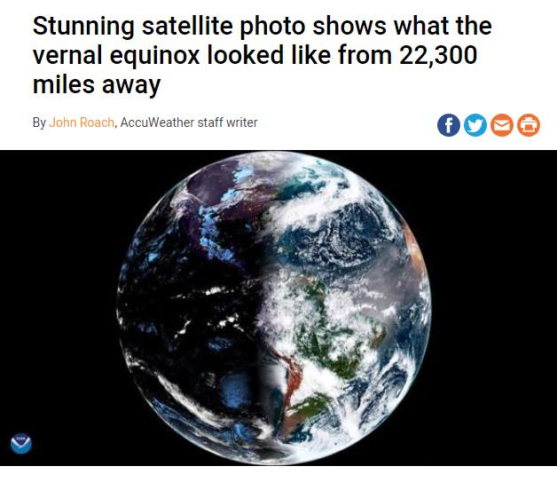 Stunning Satellite Photo Shows What the Vernal Equinox Looks Like from 22,000 Miles Away?